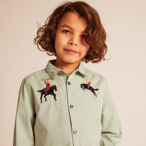 Wild & Gorgeous Bucking Broncho Shirt Slate (blouse)-2
