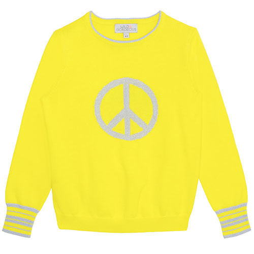 Wild & Gorgeous Peace Sign Jumper Yellow (Trui)-1