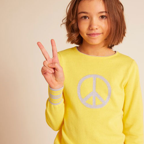 Wild & Gorgeous Peace Sign Jumper Yellow (Trui)-3