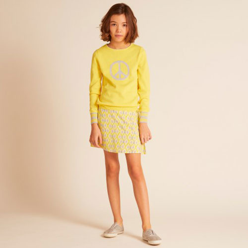 Wild & Gorgeous Peace Sign Jumper Yellow (Trui)-4