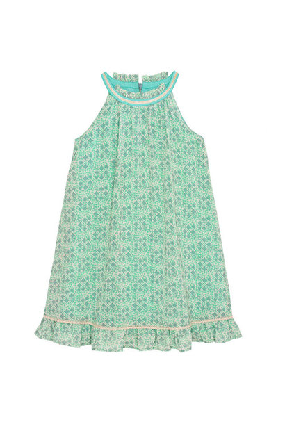 Wild & Gorgeous Sunset Flower Dress Aqua (Jurk)