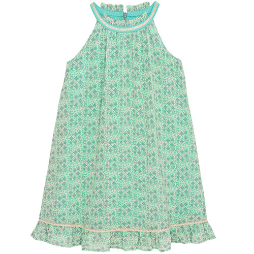Wild & Gorgeous Sunset Flower Dress Aqua (Jurk)-1