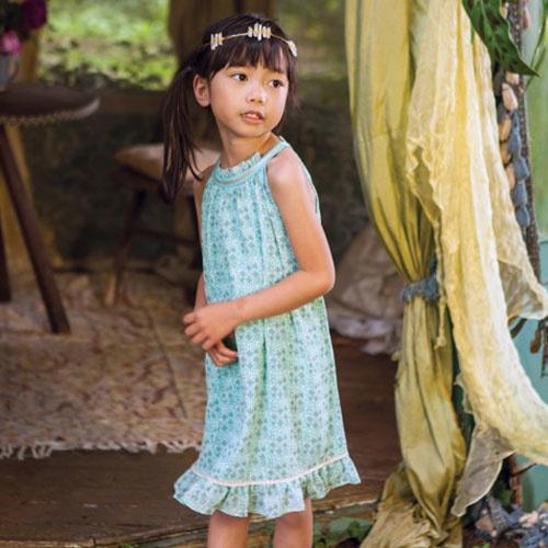 Wild & Gorgeous Sunset Flower Dress Aqua (Jurk)-2