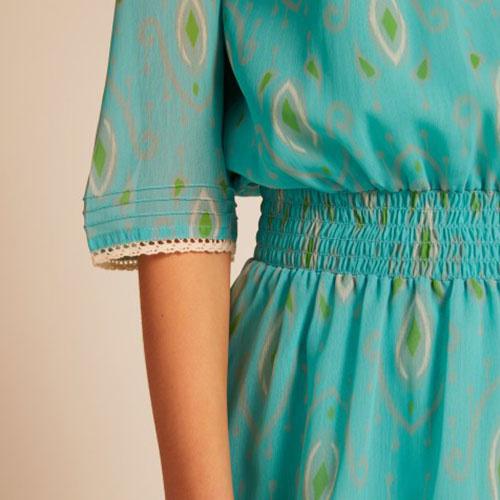 Wild & Gorgeous Henry Ikat Dress Turquiose (Jurk)-5