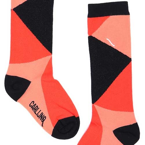 CarlijnQ Knee Socks Color Blocks Black / Pink (Sokken)-4