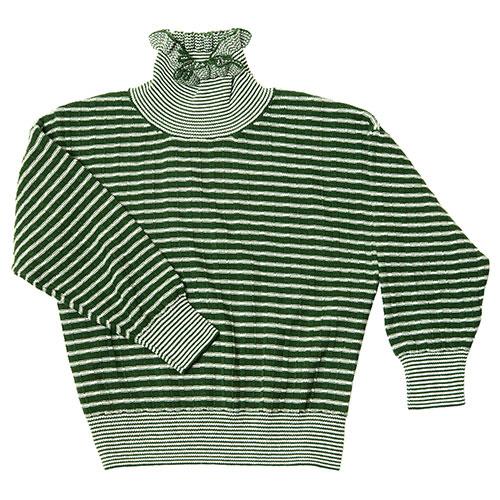 CarlijnQ Knitted Sweater Striped Green (Trui)-1