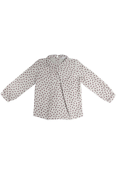 i leoncini Girl Shirt with Feather Print (Blouse)
