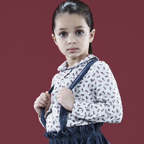 i leoncini Girl Shirt with Feather Print (Blouse)-2