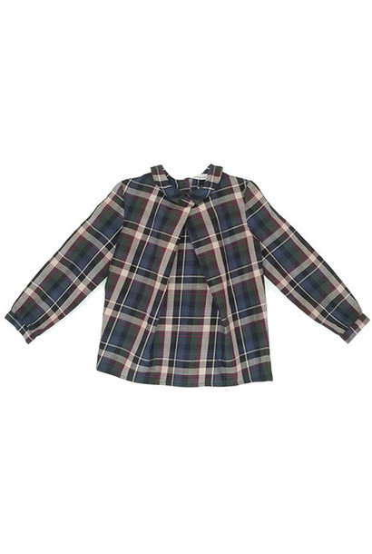 i leoncini Girl Shirt with Checkered Print (Blouse)