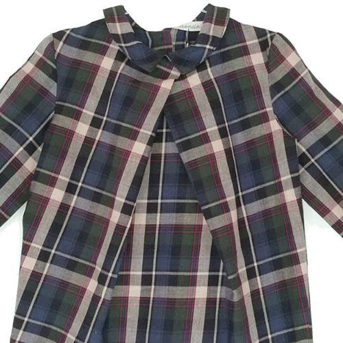 i leoncini Girl Shirt with Checkered Print (Blouse)-3