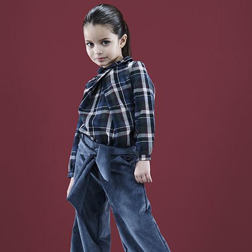 i leoncini Girl Shirt with Checkered Print (Blouse)-2