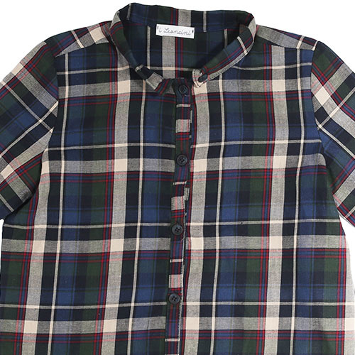 i leoncini Boy Shirt with Checkered Print (Blouse)-3