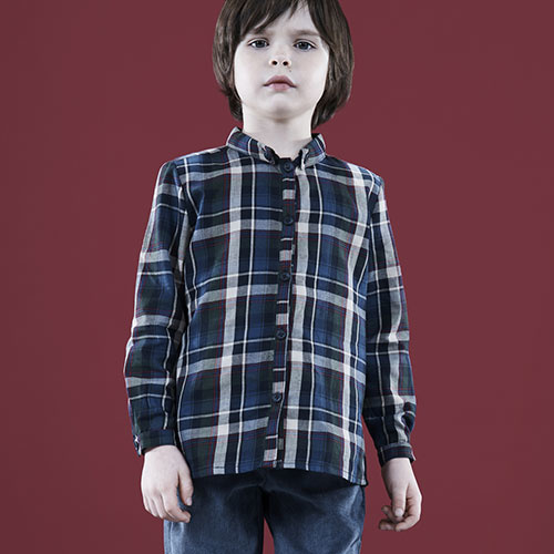 i leoncini Boy Shirt with Checkered Print (Blouse)-4