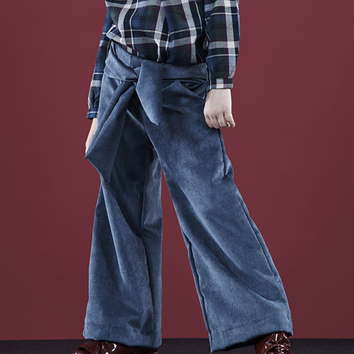 i leoncini Corduroy Flared Pants Ice Blue (Broek)-2