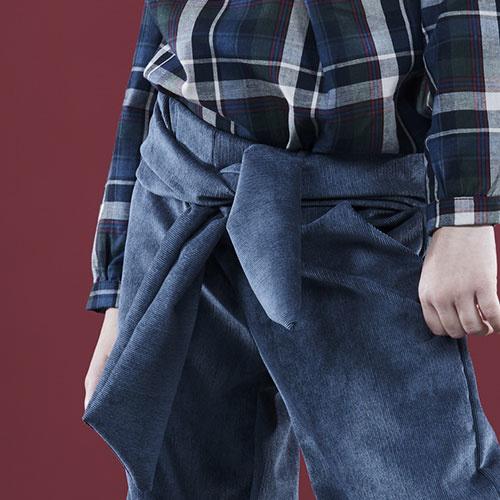 i leoncini Corduroy Flared Pants Ice Blue (Broek)-3