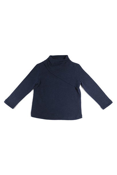 i leoncini Classic Sweater with Small Rollneck Blue (Trui)