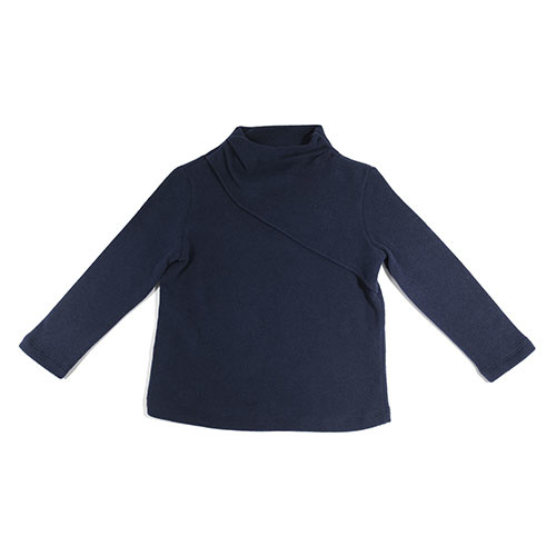 i leoncini Classic Sweater with Small Rollneck Blue (Trui)-1