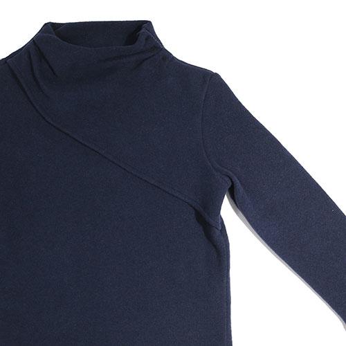 i leoncini Classic Sweater with Small Rollneck Blue (Trui)-4