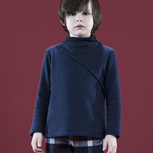 i leoncini Classic Sweater with Small Rollneck Blue (Trui)-2