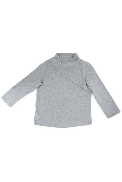 i leoncini Classic Sweater with Small Rollneck Grey (Trui)