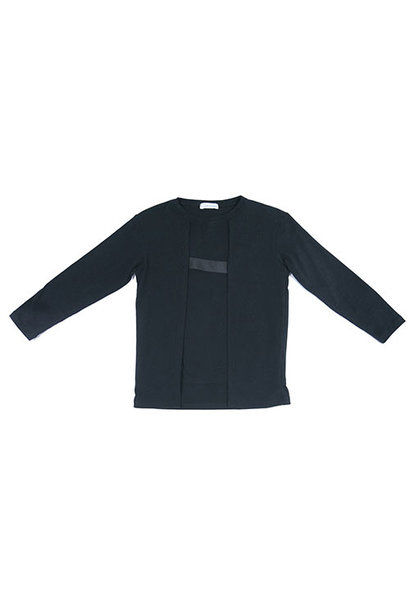 i leoncini Longsleeve with Grosgrain Detail Black (T-shirt)