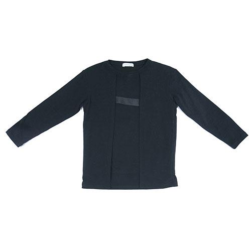 i leoncini Longsleeve with Grosgrain Detail Black (T-shirt)-1