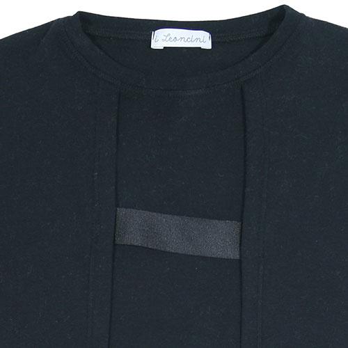 i leoncini Longsleeve with Grosgrain Detail Black (T-shirt)-2