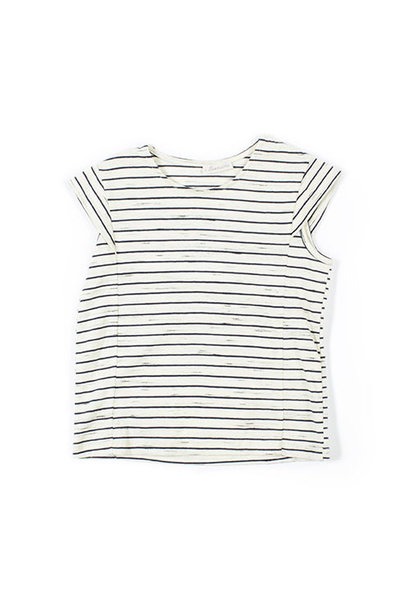 i leoncini Striped Top with Back Opening blue-white (Shirt)