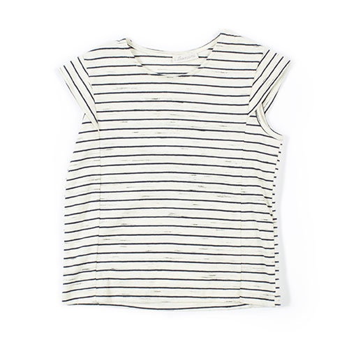 i leoncini Striped Top with Back Opening blue-white (Shirt)-1