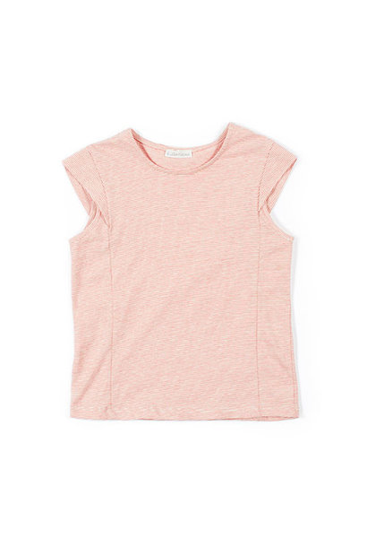 i leoncini Striped Top with Back Opening red-white (Shirt)