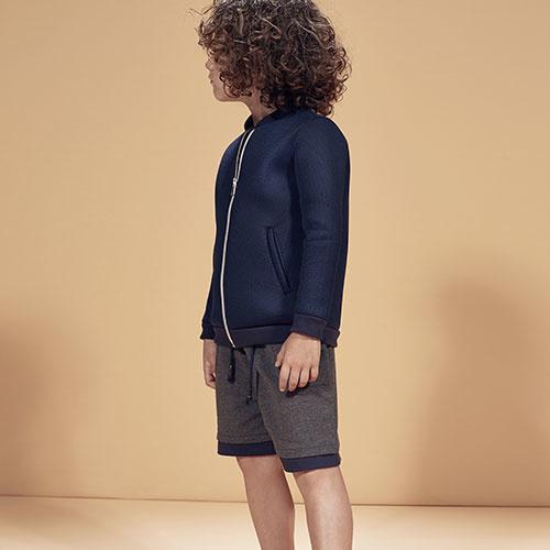 i leoncini Sweatshorts with Jersey Antraciet (Shorts)-2