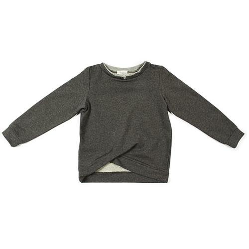 i leoncini Sweatshirt with Double Fold antraciet (Trui)-1
