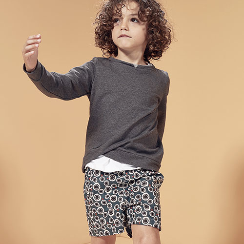 i leoncini Sweatshirt with Double Fold antraciet (Trui)-2