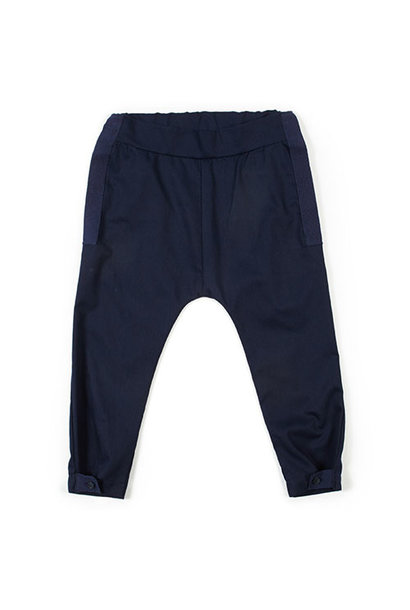 i leoncini Pique Trousers with Grosgrain Blue (broek)