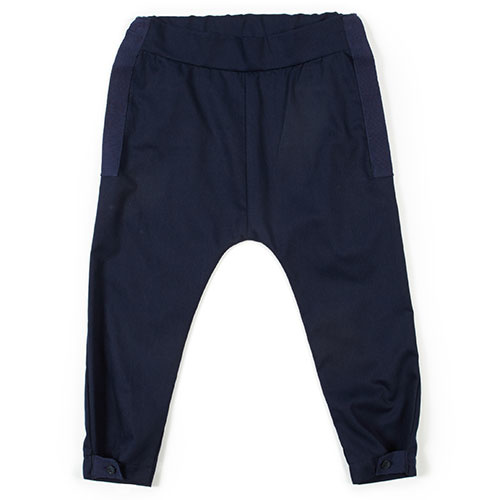 i leoncini Pique Trousers with Grosgrain Blue (broek)-1
