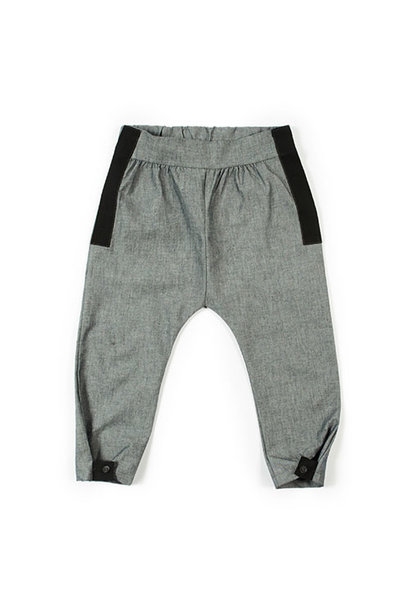 i leoncini Trousers Organic Cotton with Grosgrain Grey (broek)