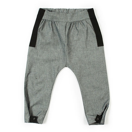 i leoncini Trousers Organic Cotton with Grosgrain Grey (broek)-1