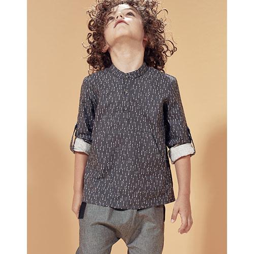 i leoncini Trousers Organic Cotton with Grosgrain Grey (broek)-2