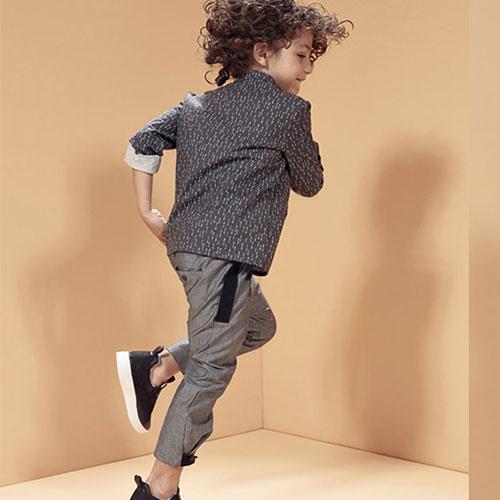 i leoncini Trousers Organic Cotton with Grosgrain Grey (broek)-3