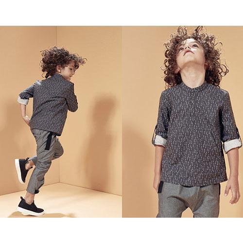 i leoncini Trousers Organic Cotton with Grosgrain Grey (broek)-4