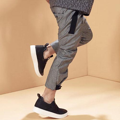 i leoncini Trousers Organic Cotton with Grosgrain Grey (broek)-5
