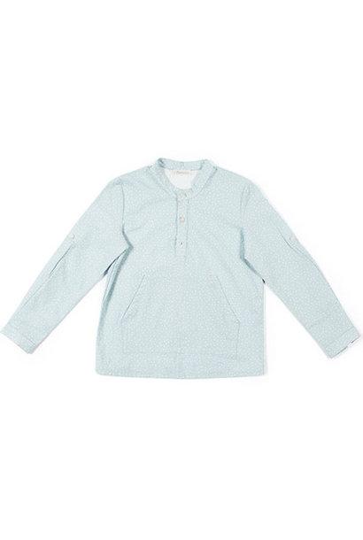 i leoncini Shirt with Micro Fantasy Print sky blue (longsleeve)