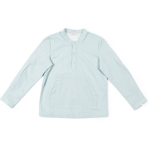 i leoncini Shirt with Micro Fantasy Print sky blue (longsleeve)-1
