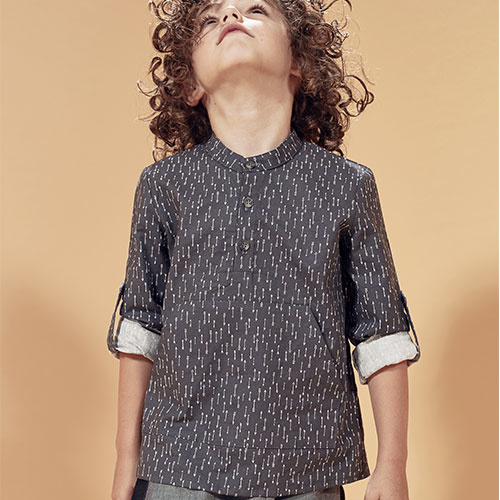 i leoncini Shirt with Micro Fantasy Print graphite (longsleeve)-2