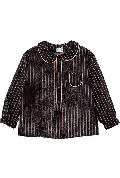 Tocoto Vintage Striped Lurex Blouse with Peter Pan Neck & Front Pocket Black (Blouse)