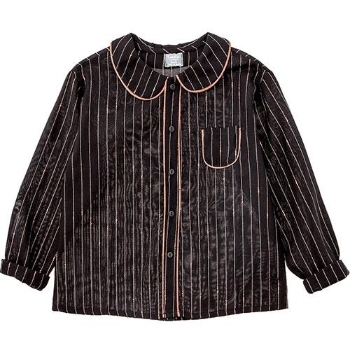 Tocoto Vintage Striped Lurex Blouse with Peter Pan Neck & Front Pocket Black (Blouse)-1