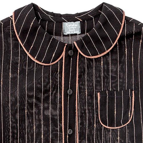 Tocoto Vintage Striped Lurex Blouse with Peter Pan Neck & Front Pocket Black (Blouse)-2
