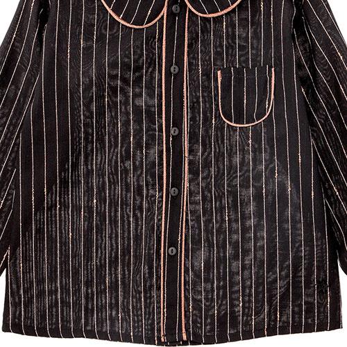 Tocoto Vintage Striped Lurex Blouse with Peter Pan Neck & Front Pocket Black (Blouse)-3