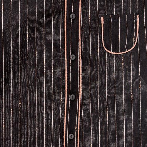 Tocoto Vintage Striped Lurex Blouse with Peter Pan Neck & Front Pocket Black (Blouse)-4