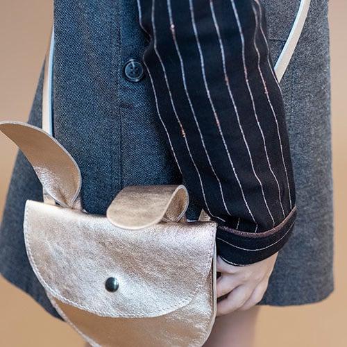 Tocoto Vintage Striped Lurex Blouse with Peter Pan Neck & Front Pocket Black (Blouse)-6